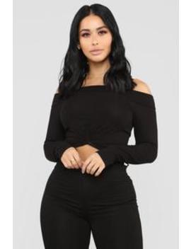 Tag Me In Off Shoulder Top   Black by Fashion Nova