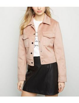 Pink Suedette Utility Trucker Jacket by New Look