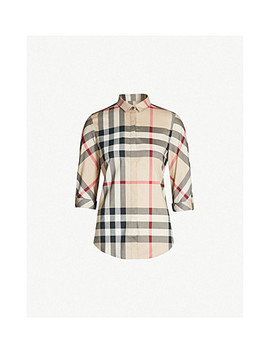Checked Stretch Cotton Shirt by Burberry