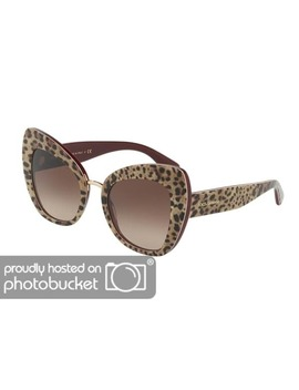 Dolce & Gabbana Butterfly Dg4319 F Women's Leo On Bordeaux Frame Brown Gradient Lens Sunglasses by Dolce & Gabbana
