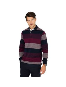 Maine New England   Big And Tall Plum Striped Cotton Rugby Top by Maine New England