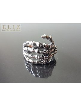 925 Sterling Silver Skeleton Hand Skull Knuckles Ring Punk Goth Rock Biker by Etsy