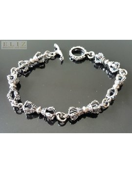 925 Sterling Silver Royal King Queen Crown 3 D Bracelet T Clasp  Punk Goth Rock Biker 23 Grams Heavy 8.5 Inches by Etsy