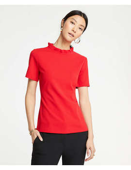 Petite Ruffle Collar Top by Ann Taylor
