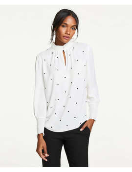 Petite Dot Embroidered Smocked Top by Ann Taylor