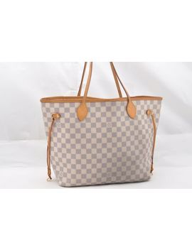 Authentic Louis Vuitton Damier Azur Neverfull Mm Tote Bag N51106 Lv 63490 by Louis Vuitton