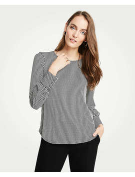 Petite Stripe Cuffed Top by Ann Taylor