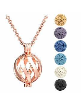 Jsdde Essential Oil Lava Stone Diffuser Pendant Necklace, Twist Ball Hollow Locket Pendant With 6pcs Dyed Lava Beads by Jsdde