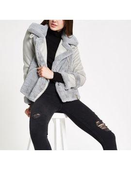 Light Grey Faux Fur Trim Jacket by River Island