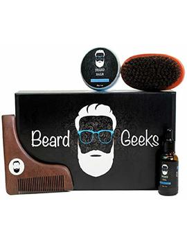 Beard Geeks Grooming Kit   Boar Bristle Brush, Wooden Shaping Comb Tool, Natural Sandalwood Scented Balm And Oil   Professional Styling Maintenance And Care Plus The Complete Beard Geeks Guide by Mk Quality Goods