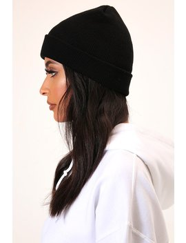 Black Basic Ribbed Beanie Hat by I Saw It First