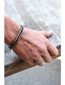 Stainless Steel Bracelet Men , Curb Chain Link Bracelet , Biker Punk Rock Jewelry by Etsy