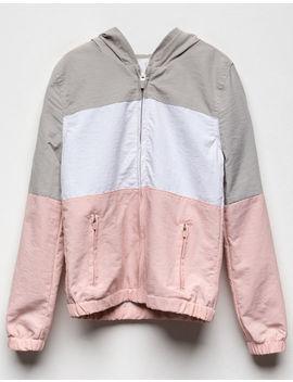Full Tilt Color Block Light Pink Girls Windbreaker Jacket by Full Tilt