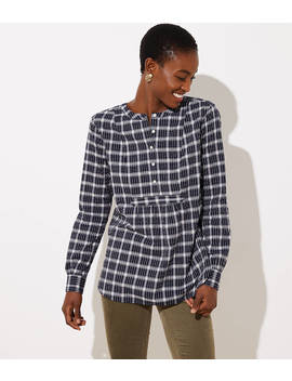 Plaid Bib Tunic Blouse by Loft