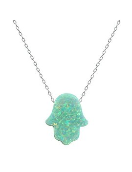 Fire Opal Hamsa Hand Opal Pendant Multi Color Opal Necklace 925 Sterling Silver Necklace by Unknown