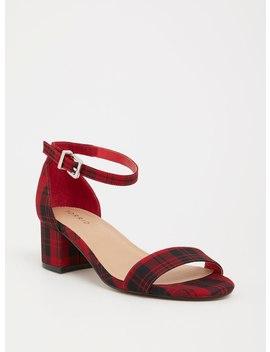 Plaid Block Heel Sandal (Wide Width) by Torrid