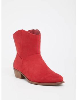 Red Faux Suede Cowgirl Bootie (Wide Width) by Torrid