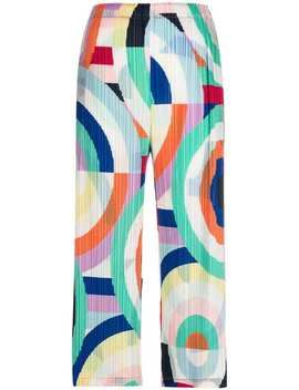 Graphic Print Pleated Trousers by Pleats Please By Issey Miyake