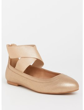 Gold Faux Leather Strappy Flat (Wide Width) by Torrid