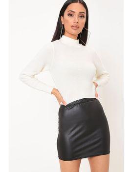 Black Coated Basic Mini Skirt by I Saw It First