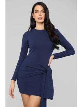 Simple Does It Tie Front Mini Dress   Navy by Fashion Nova
