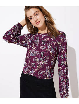 Primrose Velvet Trim Mixed Media Top by Loft