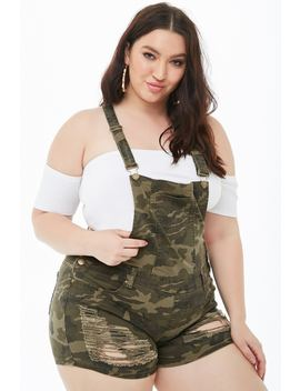 Plus Size Distressed Camo Denim Overall Shorts by Forever 21