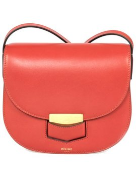 Celine Trotteur Small Red Calfskin Leather Crossbody Handbag by Celine