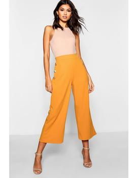 Gold Button Wide Leg Culottes by Boohoo