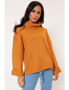 Gold Ribbed Oversized Jumper With Roll Neck by I Saw It First