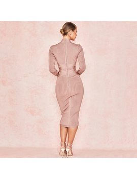 Long Sleeve Cross Strap Ribbed Nude Christmas 2019 Women's New Fashion Sexy Bodycon Pattern Winter Knee Length Bandage Dress by Hqbory
