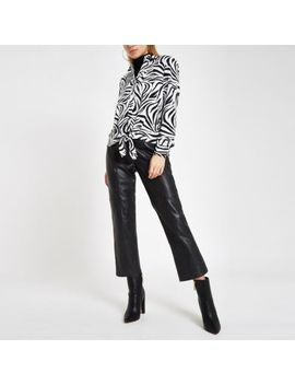 White Zebra Print Tie Front Shirt by River Island