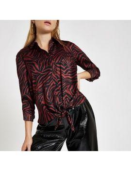 Brown Zebra Print Tie Front Shirt by River Island