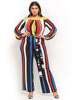 Plus Size Off The Shoulder Striped Cutout Jumpsuit by Forever 21