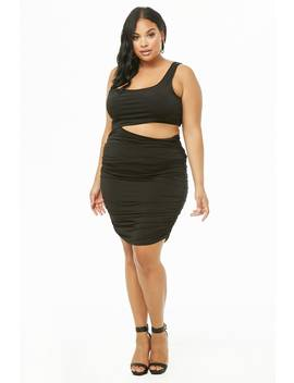Plus Size Cutout Ruched One Shoulder Dress by Forever 21