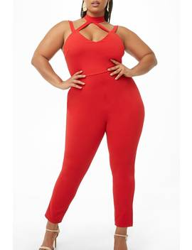 Plus Size Strappy Mock Neck Jumpsuit by Forever 21