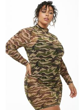 Plus Size Sheer Camo Print Dress by Forever 21