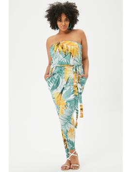Plus Size Multicolor Tropical Leaf Print Tube Jumpsuit by Forever 21