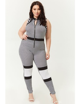 Plus Size Checkered Jumpsuit by Forever 21