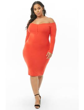 Plus Size Off The Shoulder Henley Dress by Forever 21