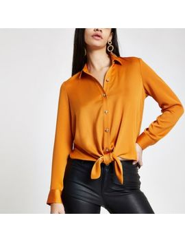 Orange Tie Front Shirt by River Island
