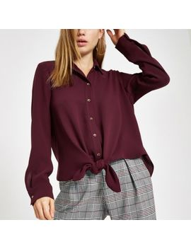 Burgundy Tie Front Long Sleeve Shirt by River Island