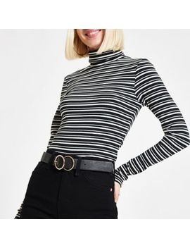 Green Stripe High Neck Long Sleeve Top by River Island