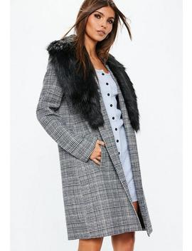 Grey Faux Fur Collar Check Coat by Missguided