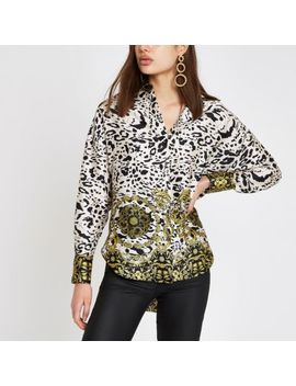 White Leopard Print Long Sleeve Blouse by River Island