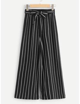 Tie Waist Pinstripe Wide Leg Pants by Shein