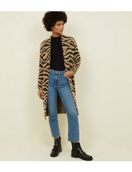 Brown Zebra Print Fluffy Longline Cardigan by New Look
