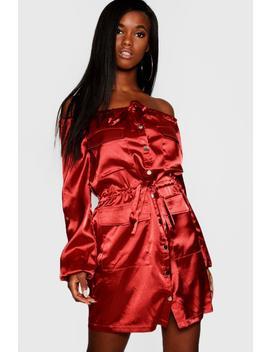 Bardot Satin Utility Pocket Dress by Boohoo