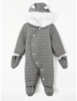 John Lewis & Partners Baby Star Quilted Snowsuit, Grey by John Lewis & Partners