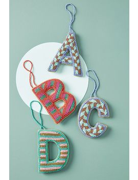 Monogram Beaded Ornament by Anthropologie